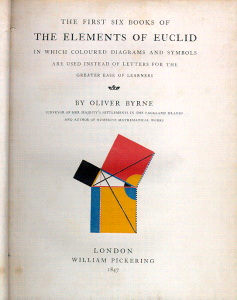 title page of Byrne's book titled the elements of Euclid from 1847