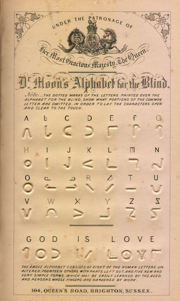 Moon alphabet chart from William Moon (1877)