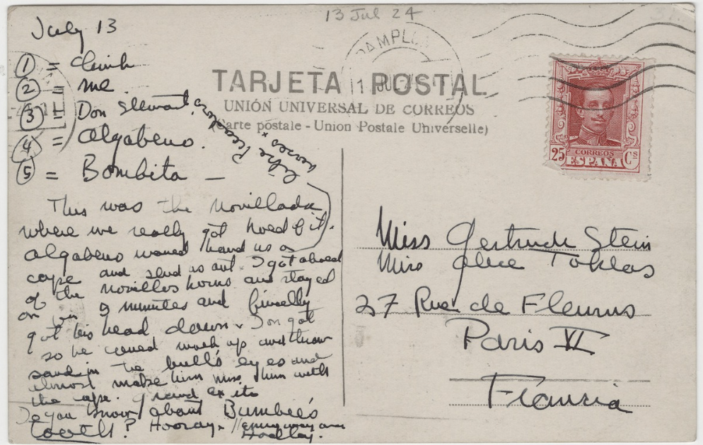postcard written to Gertrude Stein