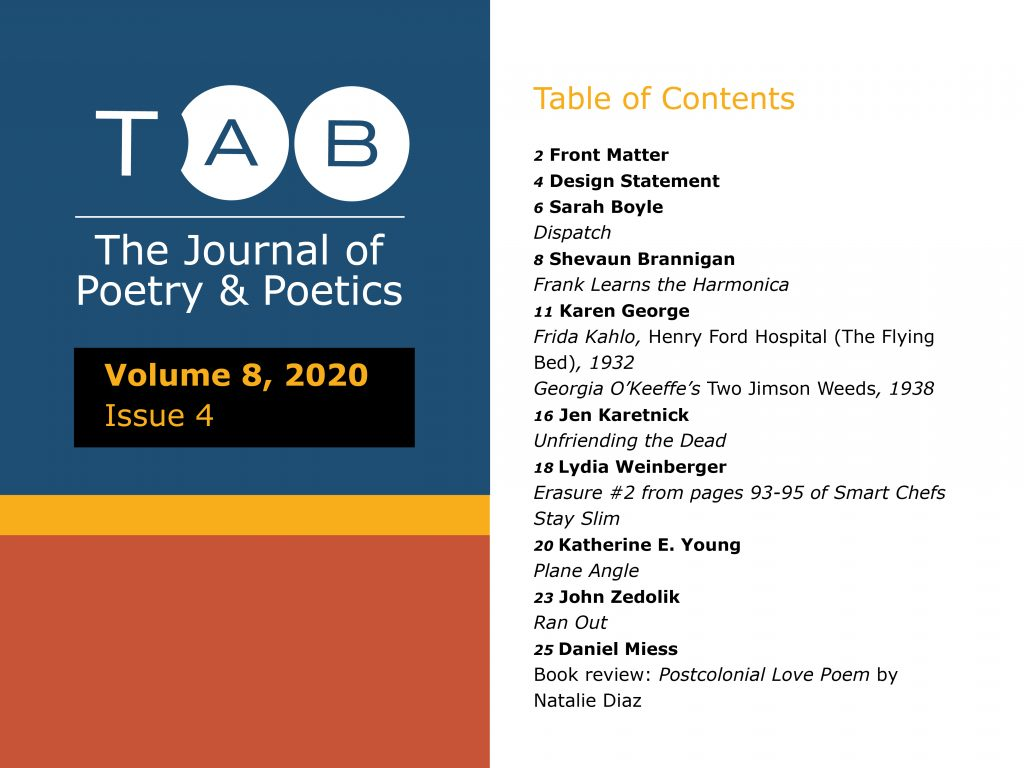 Cover of Tab Journal Vol. 8.4 and Table of Contents